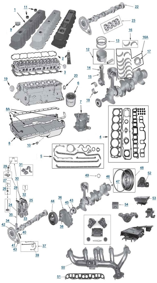 Xj Cherokee 4.0L 6 Cylinder Engine - 4 Wheel Parts with 2002 Jeep Grand Cherokee Engine Diagram