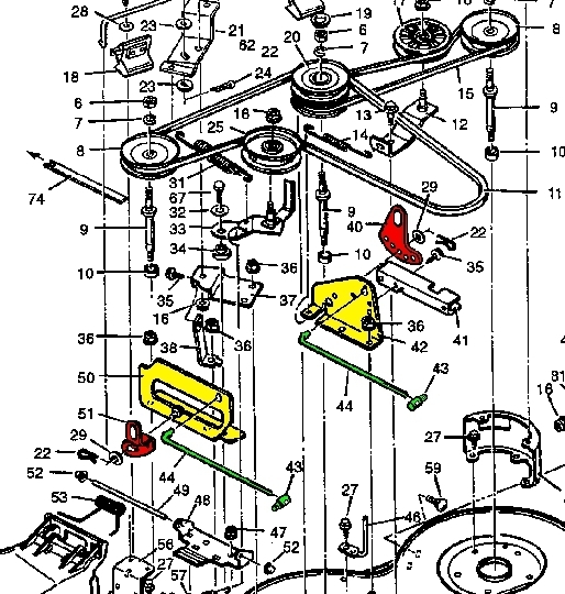 "1996 Murray Lawn Tractor 46"" - [Central Park Brandhandy Andy intended for Murray Lawn Mower Deck Parts Diagram"