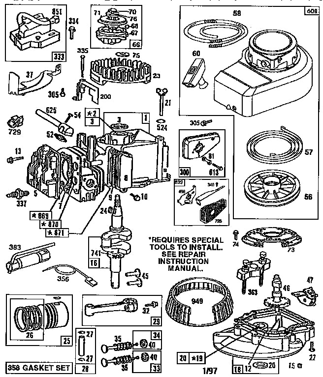 Lawn Mower Engine Diagram Briggs Amp Stratton And Parts Model In throughout Parts Diagram For Briggs & Stratton Engine