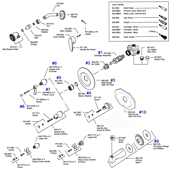Price Pfister Series 08 & 09 Single Handle Tub & Shower Parts within Price Pfister Shower Valve Parts Diagram