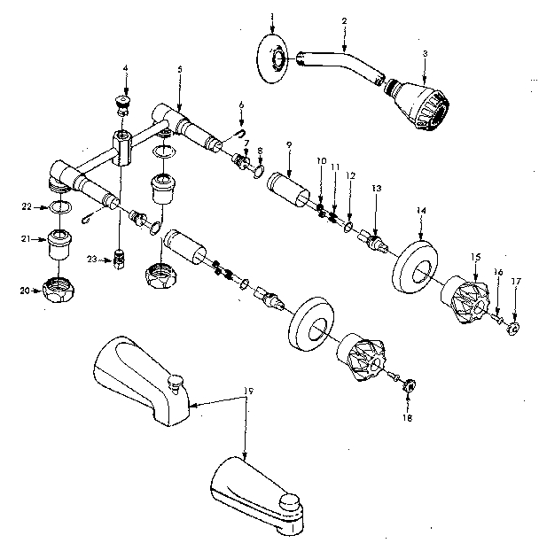 Sears Combination Tub And Shower Faucet Parts | Model 609208190 in Parts Of A Shower Faucet Diagram
