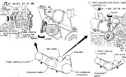 2002 Nissan Maxima: A Diagram And How To Install Both Belts..pulleys with 2000 Nissan Maxima Engine Diagram