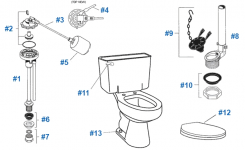 American Standard Toilet Repair Parts For Cadet Series Toilets in American Standard Toilet Parts Diagram