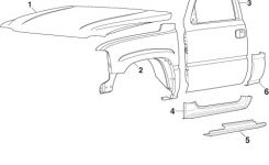 Front Steel Body Parts | 1999-07 Gmc Sierra | Lmc Truck within Chevy Truck Body Parts Diagram