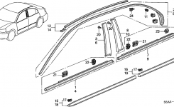 Honda Civic 4 Door Dx Ka 5Mt Molding – Protector regarding 2001 Honda Civic Parts Diagram