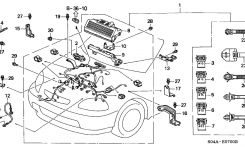 Honda Civic 4 Door Lx Ka 5Mt Engine Wire Harness with regard to 1998 Honda Civic Engine Diagram
