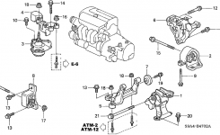Honda Cr-V 5 Door Lx (4Wd) Ka 5At Engine Mounts inside Honda Crv Body Parts Diagram